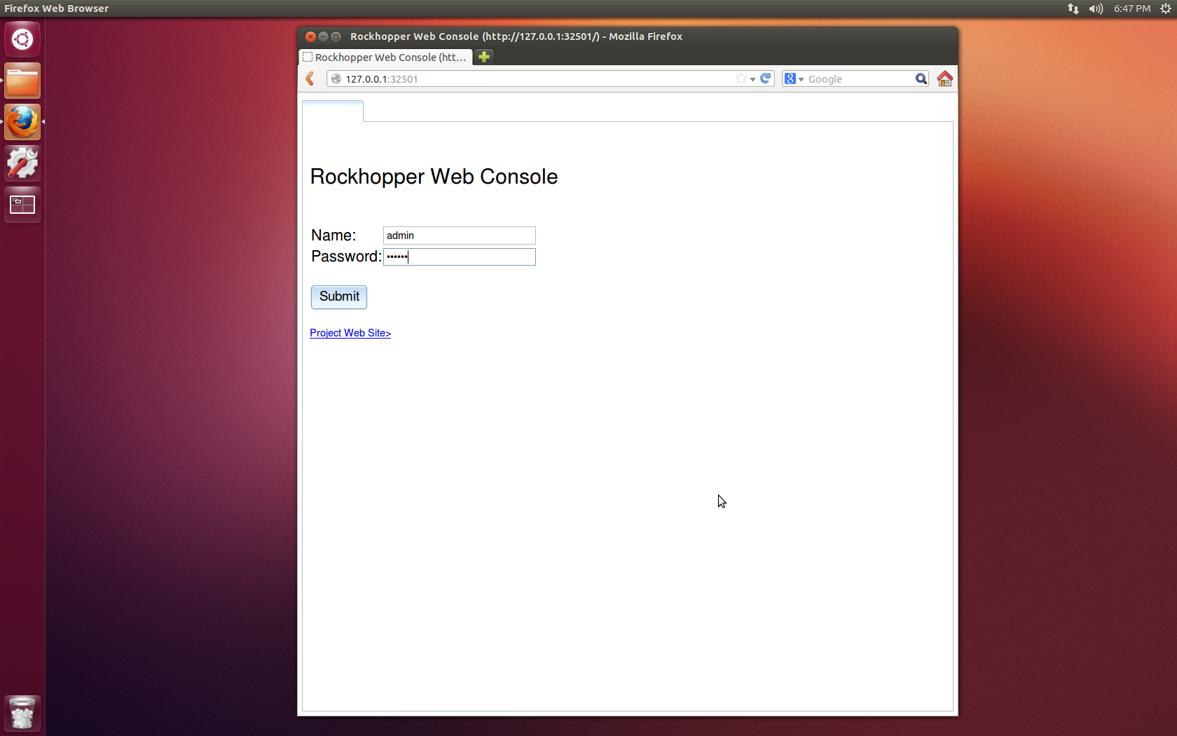 Web Console's Login Page